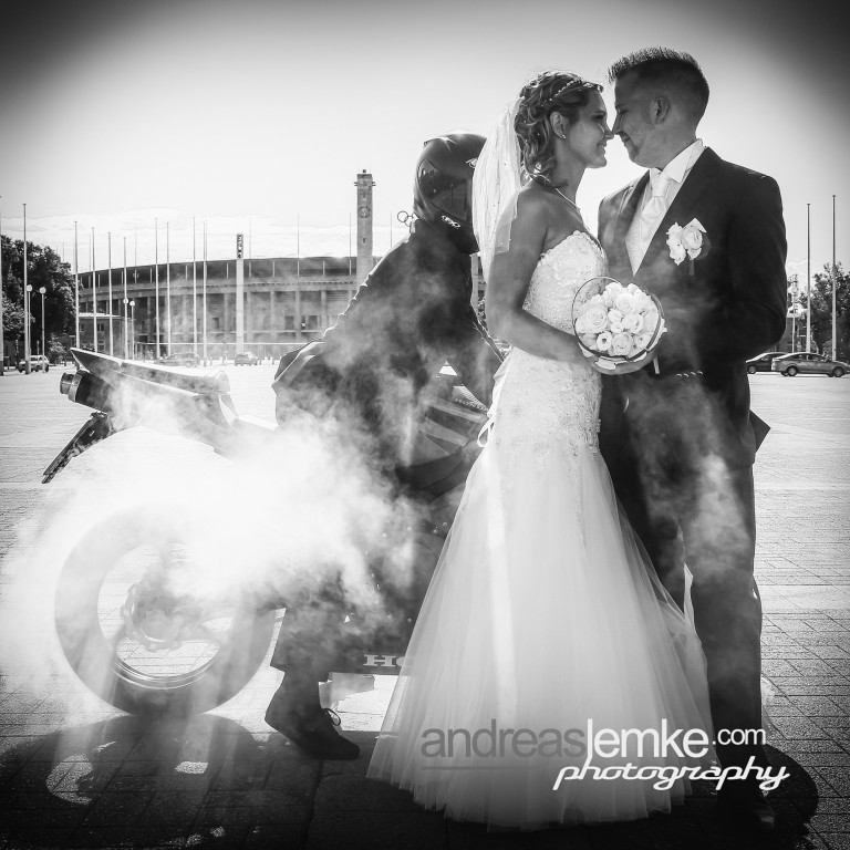 Wedding Motorcycle Burnout